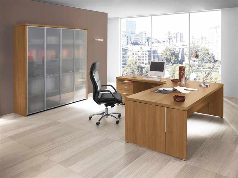 Grand bureau angle bois: intérieur de la maison grand bureau design